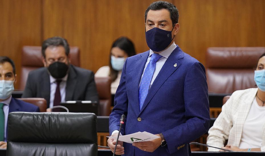 Moreno comparecerá, a petición propia, en el primer pleno del mes de julio para abordar la situación de Andalucía y los retos de futuro